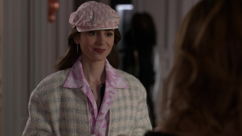 Dior Monogram Hat French Street Style Outfit of Lily Collins in Emily in Paris S01E10 (2)