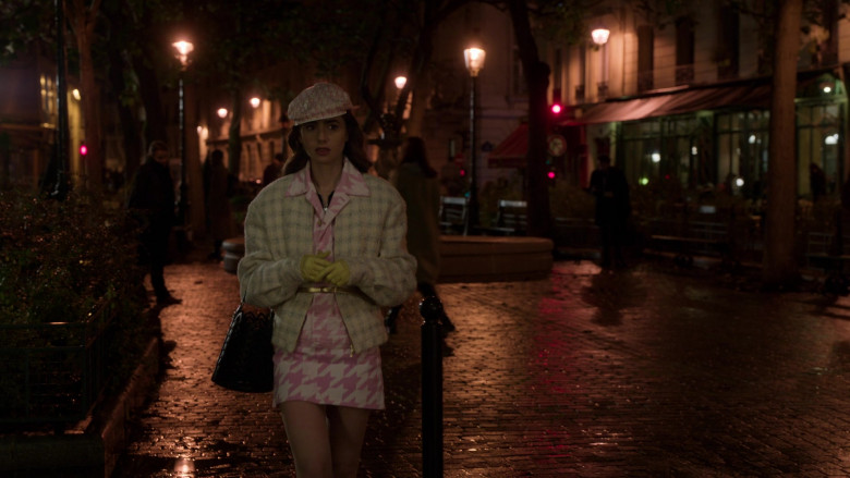 Dior Monogram Hat French Street Style Outfit of Lily Collins in Emily in Paris S01E10 (4)