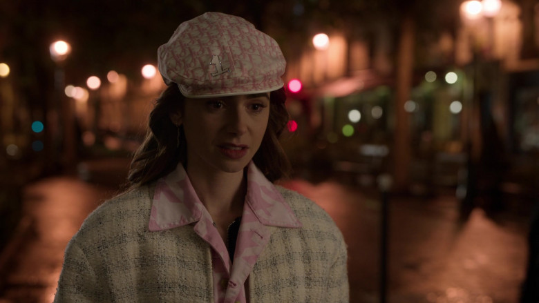 Dior Monogram Hat French Street Style Outfit of Lily Collins in Emily in Paris S01E10 (5)