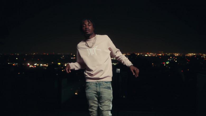 Dior Sweatshirt Outfit of Lil Tjay in 'Mood Swings' by Pop Smoke (1)