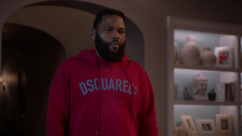 Dsquared2 Red Hoodie of Anthony Anderson as Dre in Black-ish S07E02 TV Show (2)