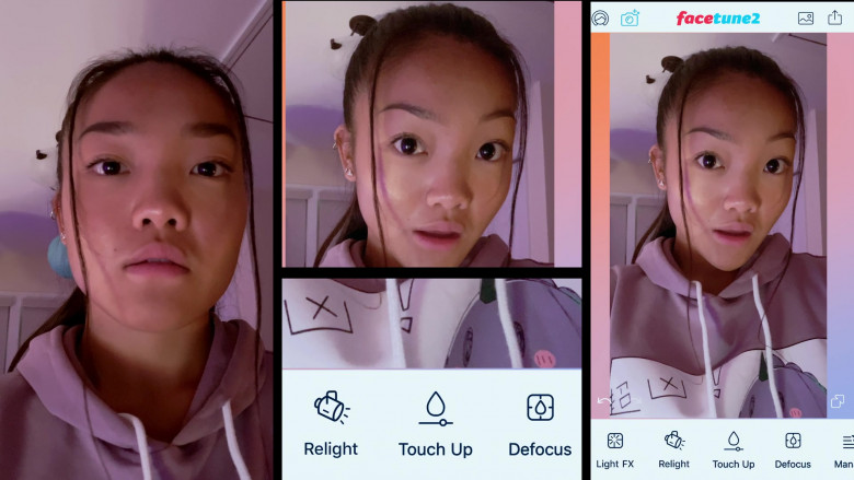 Facetune photo editing application Used by Kylie Liya Page as Mia Huang in Social Distance S01E07 (2)