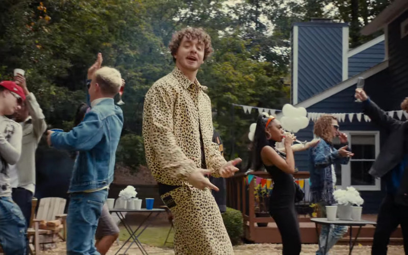 Gucci Leopard Print Jacket and Shorts Suit Outfit of Jack Harlow in Tyler Herro (1)