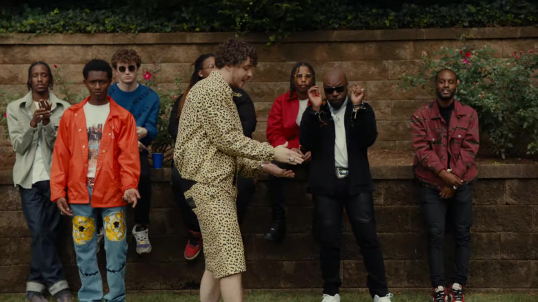 Gucci Leopard Print Jacket and Shorts Suit Outfit of Jack Harlow in Tyler Herro (2)