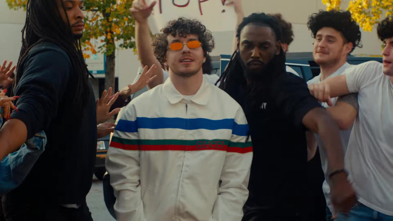 Gucci Multi Color Horizontal Stripe Pattern Jacket Outfit of Jack Harlow in Tyler Herro (1)