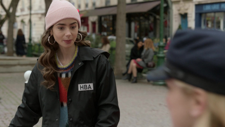 Hood By Air Logo-Print Cropped Jacket Street Style Outfit of Lily Collins in Emily in Paris S01E08 TV Series (2)