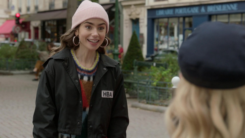 Hood By Air Logo-Print Cropped Jacket Street Style Outfit of Lily Collins in Emily in Paris S01E08 TV Series (3)