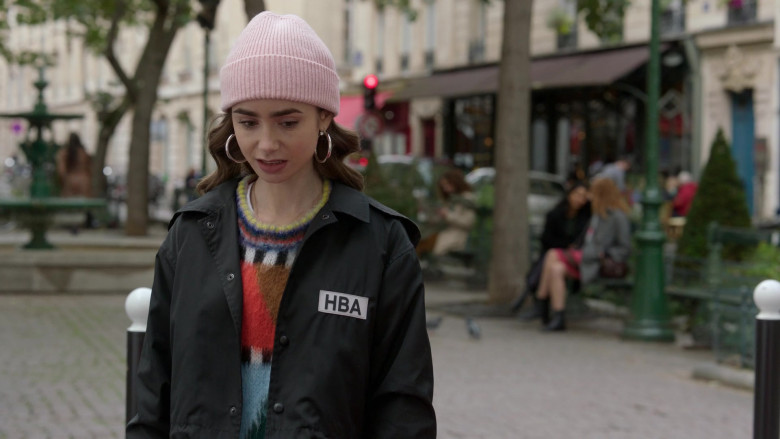 Hood By Air Logo-Print Cropped Jacket Street Style Outfit of Lily Collins in Emily in Paris S01E08 TV Series (4)