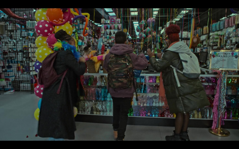 JanSport Army Print Backpack of Crystal Sha're Nelson as Tor Sampson in Grand Army S01E09