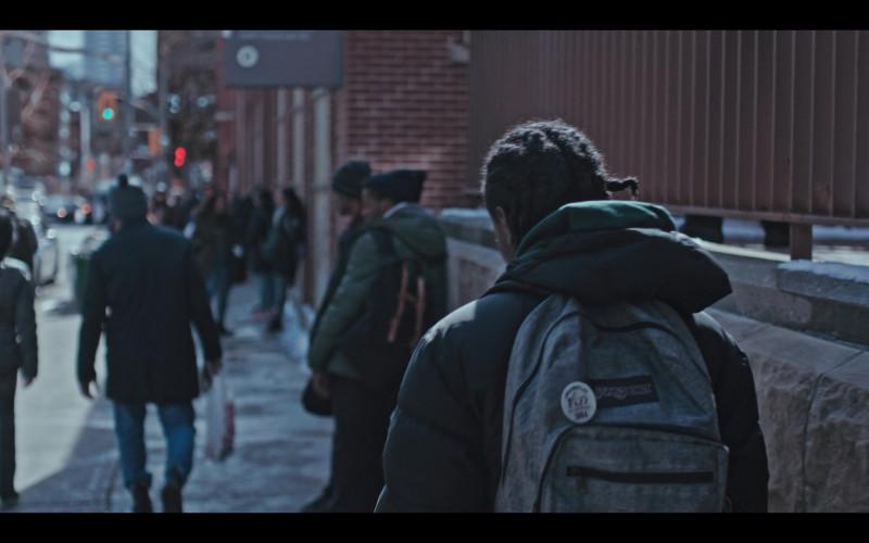 JanSport Grey Backpack of Jaden Jordan as Owen Williams in Grand Army S01E09