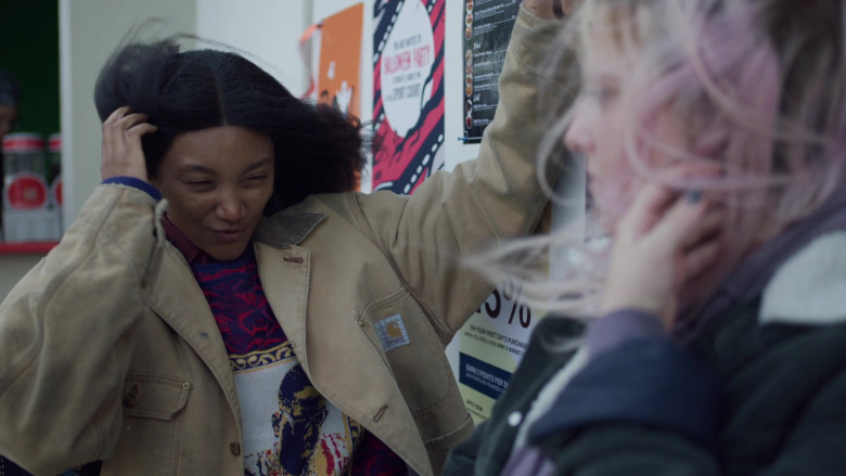 Jordan Kristine Seamón as Caitlin Wears Carhartt Jacket Outfit in We Are Who We Are Episode 5 TV Show (2)