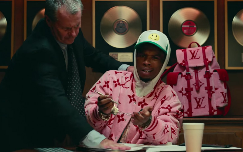 Louis Vuitton Pink Jacket and Backpack of Tory Lanez in Most High (1)