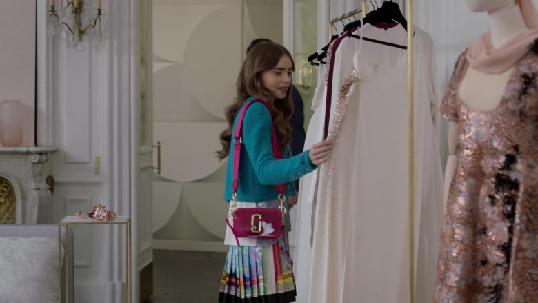 Marc Jacobs Jelly Snapshot Sling Bag Fashion Outfit of Lily Collins in Emily in Paris S01E07