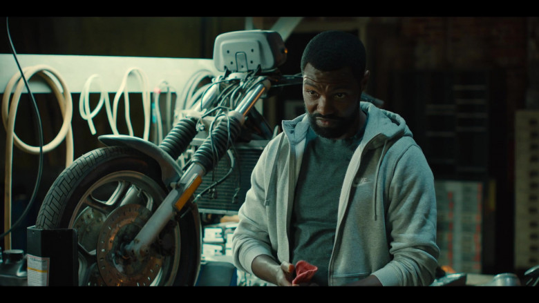 Nike Grey Hoodie Outfit of Will Catlett as Detective Rivers in Charm City Kings (2)
