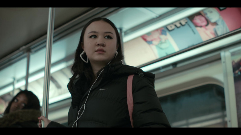 Nike Puffer Jacket Worn by Amalia Yoo as Leila Kwan Zimmer in Grand Army S01E05