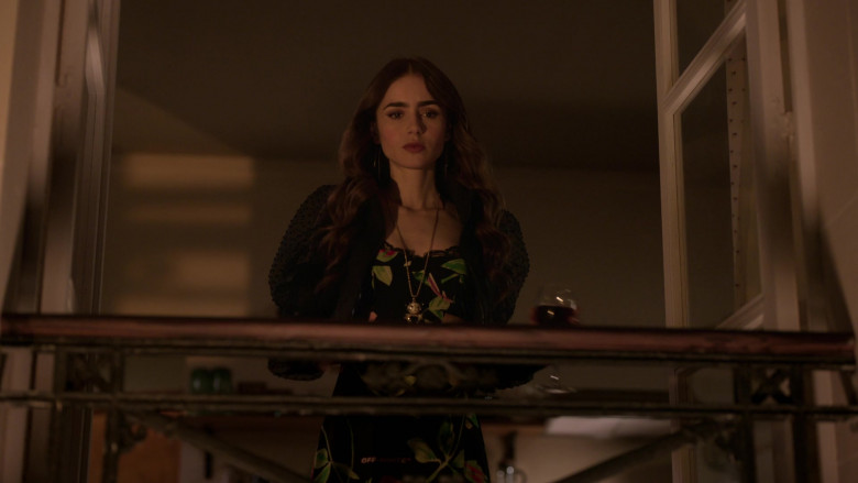 Off-White Floral Dress Worn by Lily Collins in Emily in Paris S01E10 (2)