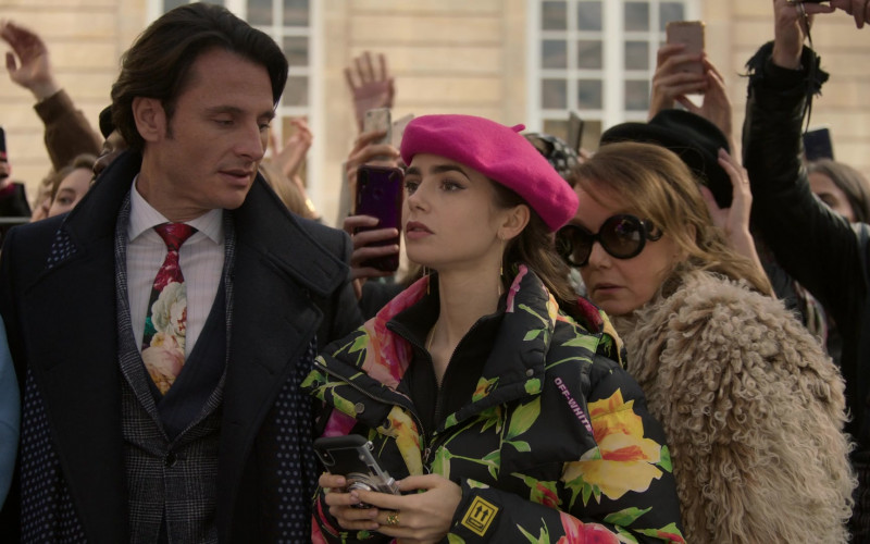 Off-White Floral Print Down Coat Jacket Outfit of Lily Collins in Emily in Paris S01E10 TV Show by Netflix (1)
