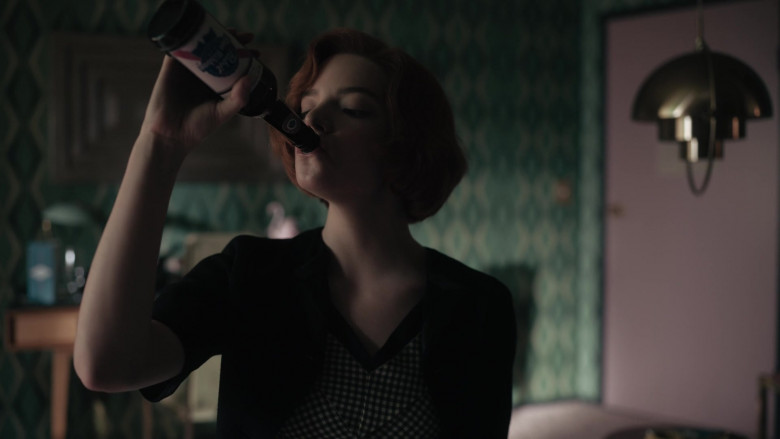 Pabst Beer Enjoyed by Anya Taylor-Joy as Beth Harmon in The Queen's Gambit Episode 3 TV Series