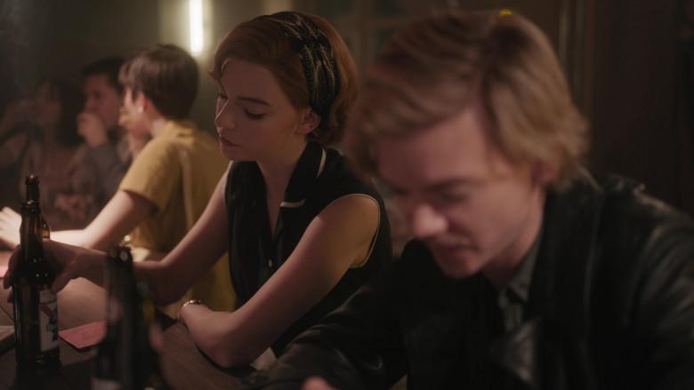 Pabst Beer of Anya Taylor-Joy as Beth Harmon in The Queen's Gambit Episode 5 Fork (2020)