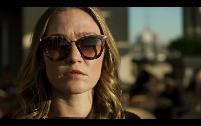 Prada 53SS Brown Sunglasses of Julia Stiles as Georgina Marjorie Clios in Riviera S03E08 TV Show (2)