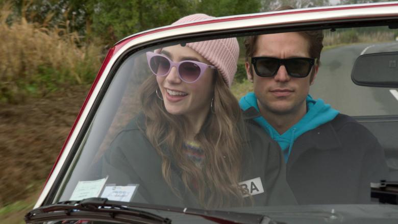 Quay Australia Aphrodite Viol-Purple Retro Sunglasses Worn by Lily Collins in Emily in Paris S01E08
