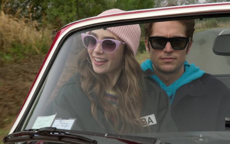 Quay Australia Aphrodite Viol-Purple Retro Sunglasses Worn by Lily Collins in Emily in Paris S01E08