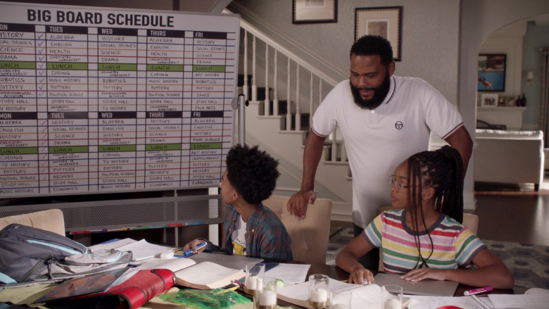 Sergio Tacchini White Polo Shirt Outfit of Anthony Anderson as Dre in Black-ish S07E02 TV Show (1)
