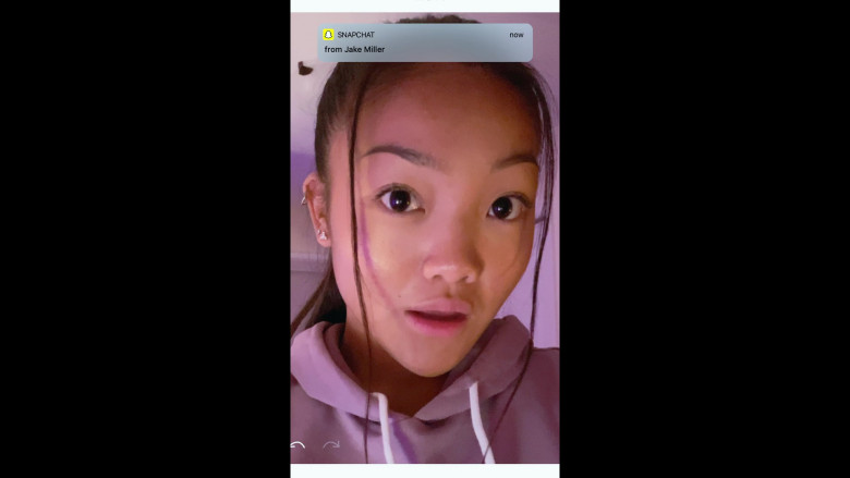 Snapchat Messaging App Used by Kylie Liya Page as Mia Huang in Social Distance S01E07
