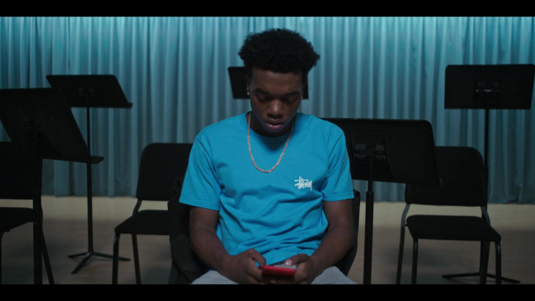 Stussy Blue T-Shirt Outfit of Maliq Johnson as Jayson Jackson in Grand Army S01E09 TV Show by Netflix (2)