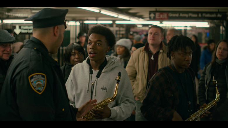 Stüssy Hoodie Outfit of Maliq Johnson as Jayson Jackson in Grand Army S01E02 TV Show (2)