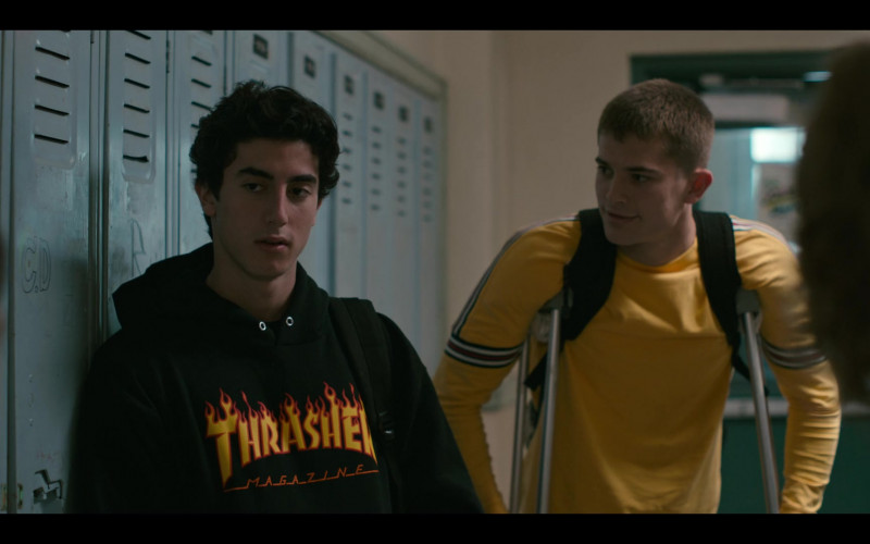 Thrasher Magazine Black Hoodie Outfit of Anthony Ippolito as George Wright in Grand Army S01E02 TV Show