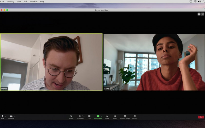 Zoom Video Conferencing App Used by Brian Jordan Alvarez as Marco in Social Distance S01E04