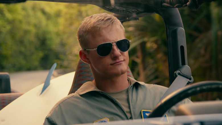 Alexander Ludwig as Captain Andrew Jantz Wears Tom Ford Marko Aviator Sunglasses in Operation Christmas Drop Movie (2)