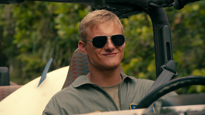 Alexander Ludwig as Captain Andrew Jantz Wears Tom Ford Marko Aviator Sunglasses in Operation Christmas Drop Movie (4)