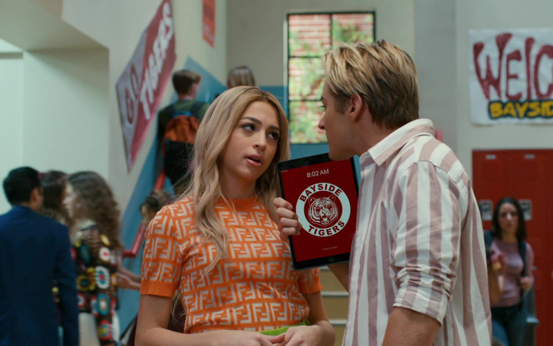 Fendi Orange Top Outfit of Josie Totah as Lexi in Saved by the Bell S01E01 TV Show (1)