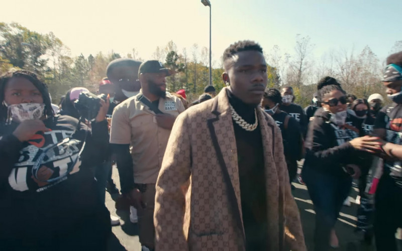 """Gucci Beige-Brown Wool Coat Outfit of DaBaby in """"Gucci Peacoat"""" 2020 (3)"""