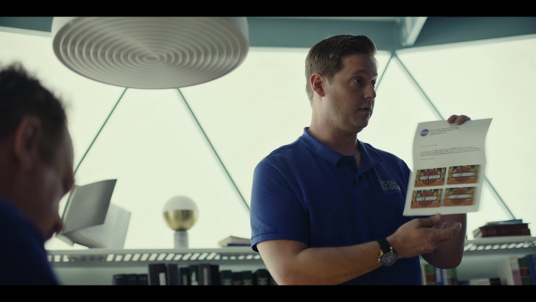 """Harley-Davidson Gift Cards Held by Tim Heidecker as Rook in Moonbase 8 S01E01 """"Dry"""" (2020)"""