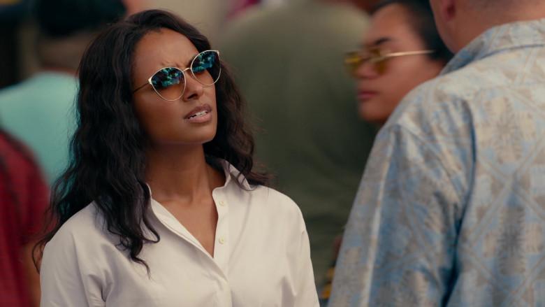 Kat Graham as Erica Miller Wears Tom Ford Zeila Cat Eye Sunglasses in Operation Christmas Drop Movie (6)
