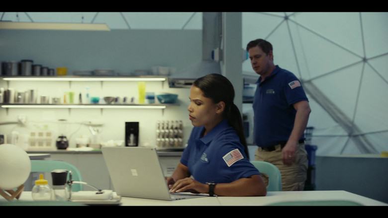 Microsoft Surface Laptop of Diandra Lyle as Alisha Patterson in Moonbase 8 S01E03 TV Show (1)