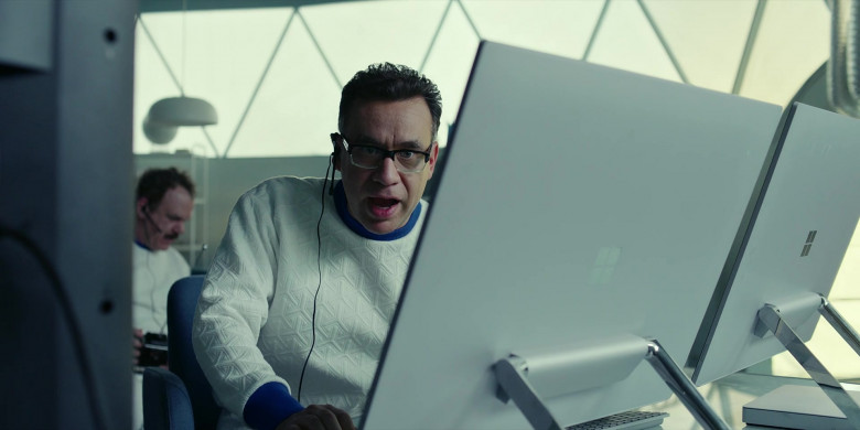 Microsoft Surface Studio AIO Computers of Fred Armisen as Dr. Michael 'Skip' Henai in Moonbase 8 S01E06 TV Show (2)