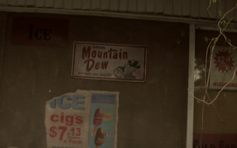 Mountain Dew Drink Vintage Metallic Sign Spotted in The Walking Dead World Beyond S01E07 TV Series
