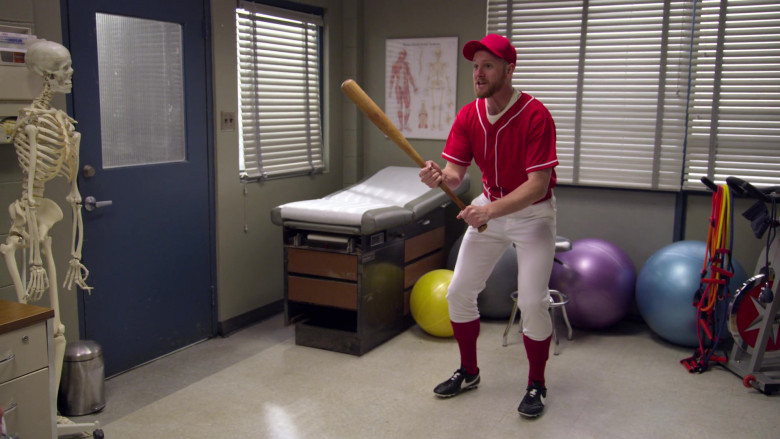 Nike Baseball Black Shoes of Actor Broden Kelly in Aunty Donna's Big Ol' House of Fun S01E03 Training for the 2000 Sydney 'lympic games