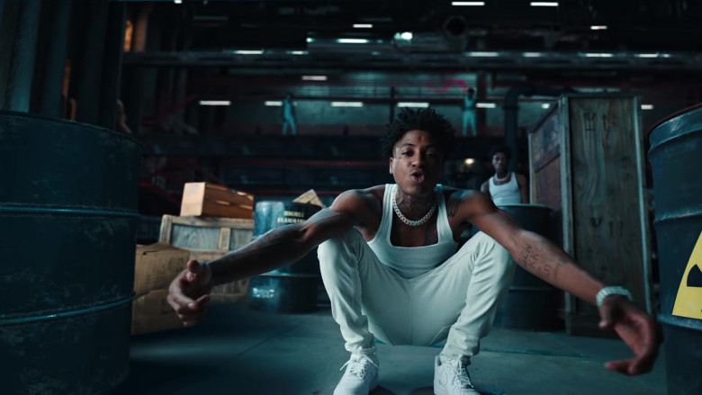 "Nike Sneakers (All-White) of YoungBoy NBA in ""What That Speed Bout!"" by Mike WiLL Made-It ft. Nicki Minaj"