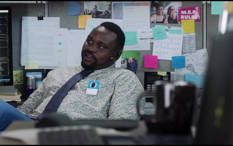 Red Bull Energy Drink and vTech Phone of Brian Tyree Henry as Dennis in Superintelligence (2020)
