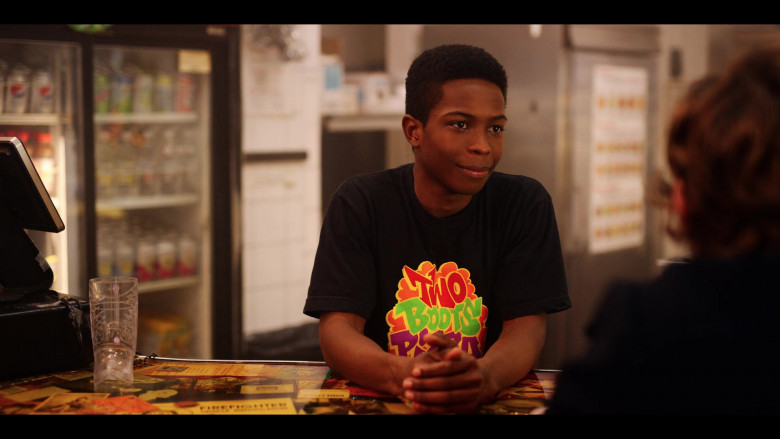 Two Boots Pizza T-Shirt of Dante Brown as Boomer in Dash & Lily S01E03 TV Show (1)