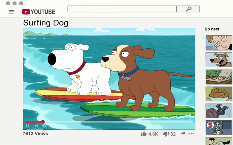 Youtube Website in Family Guy S19E04 CutawayLand (2020)