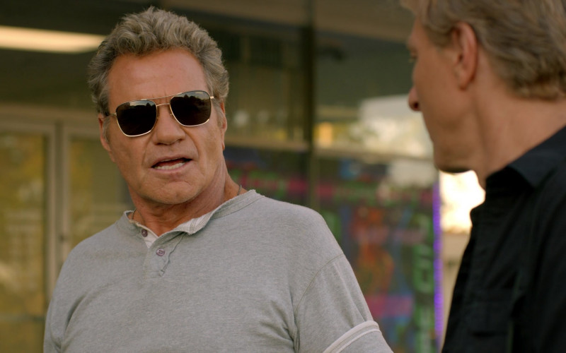Carrera Rectangular Sunglasses of Martin Kove as John Kreese in Cobra Kai S02E03