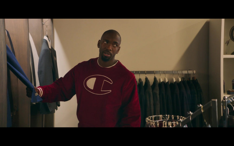 Champion Red Oversized Sweatshirt Worn by Jay Pharoah as Dave Berger in All My Life (2)