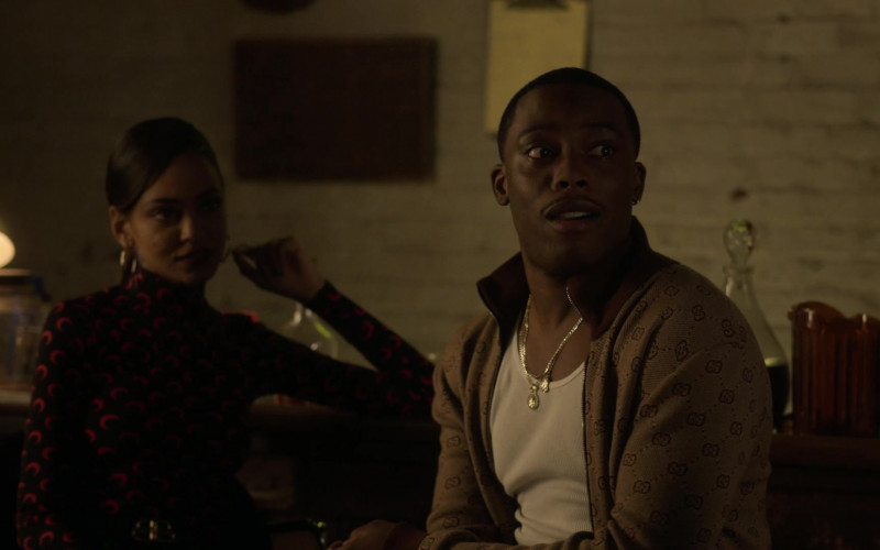 Gucci Men's Cardigan Sweater Outfit of Woody McClain as Cane Tejada in Power Book II Ghost S01E09