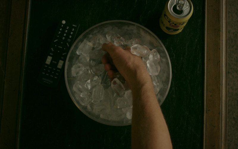 Insignia TV Remote Control and Coors Banquet Beer in Cobra Kai S02E01
